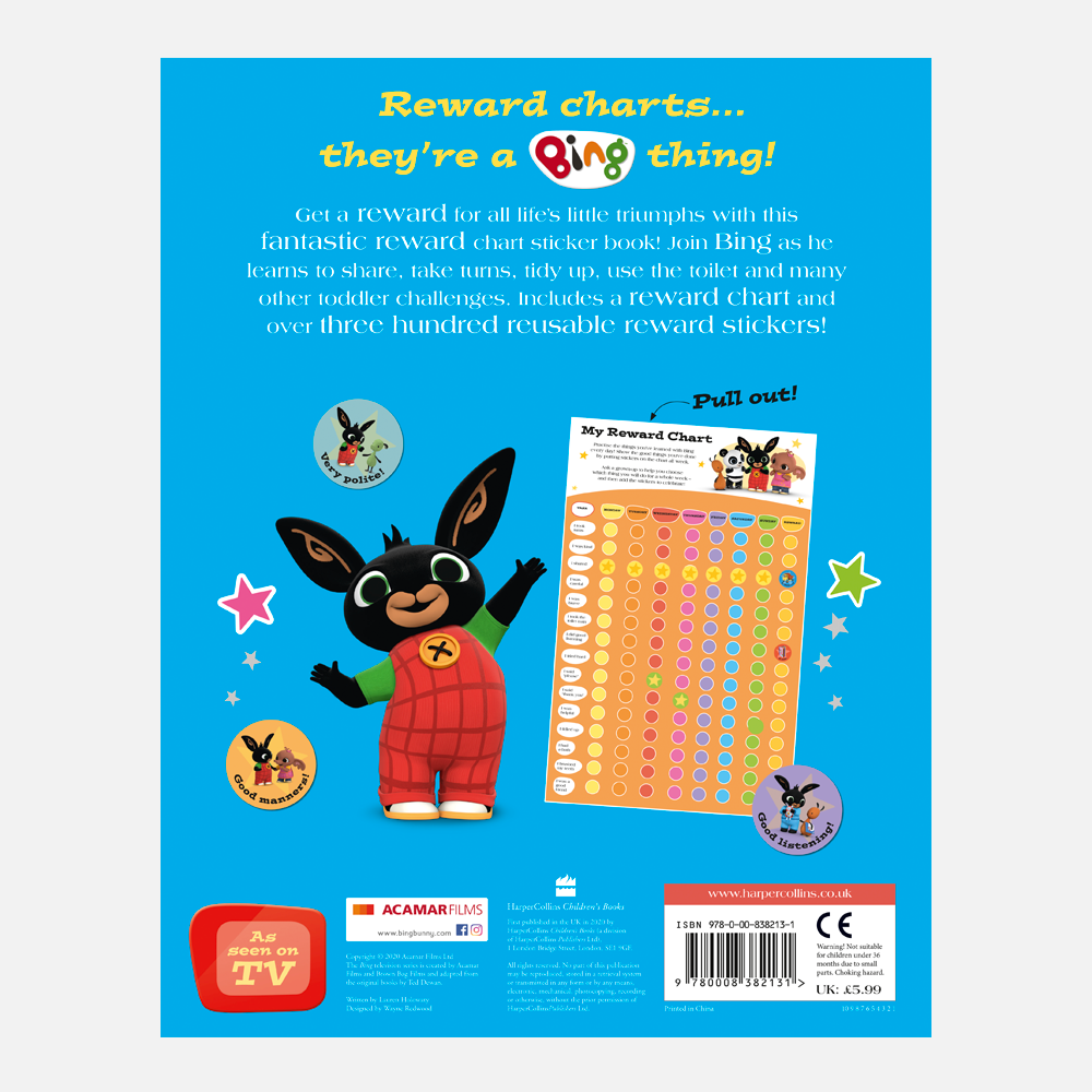 Bing My Reward Chart Book with Stickers