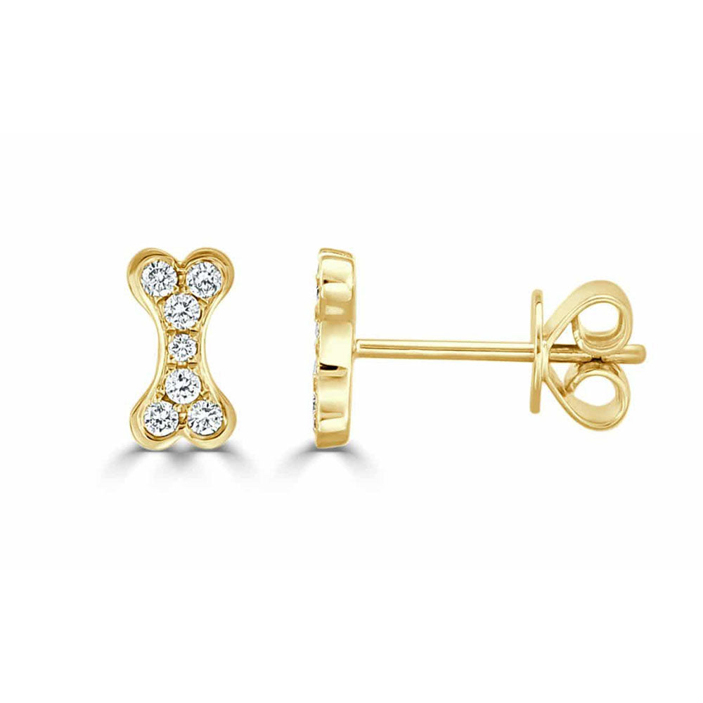 Remy Tiny Diamond Dog Bone Stud Earrings