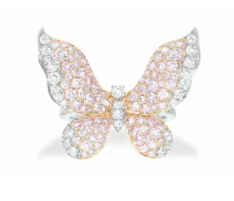 Mariposa Argyle Pink & White Diamond Platinum Ring