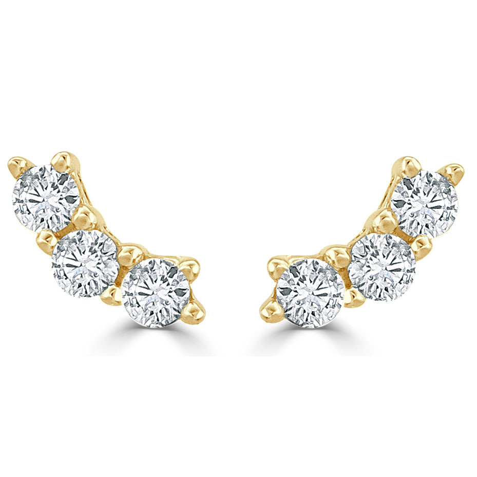 Penelope Tiny Three Diamond Curved Bar Stud Earrings
