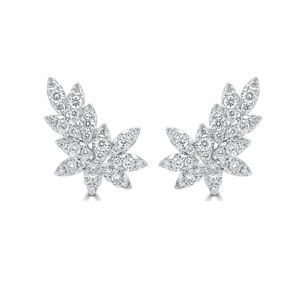 Juniper Diamond Leaf Shaped Earrings