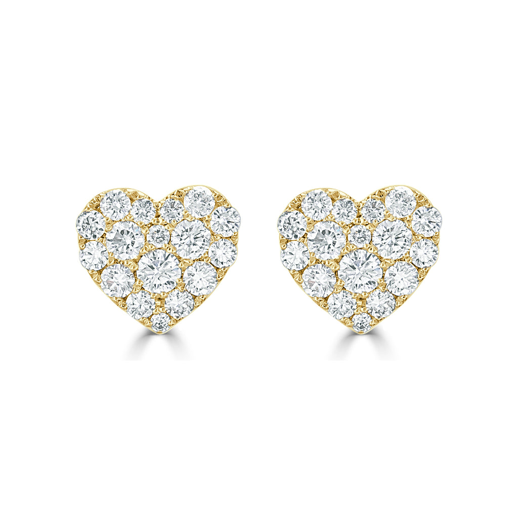 """Love You More"" Tiny Diamond Heart Stud Earrings"