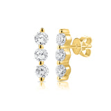 Gemma 3 Diamond Vertical Bar Stud Earrings