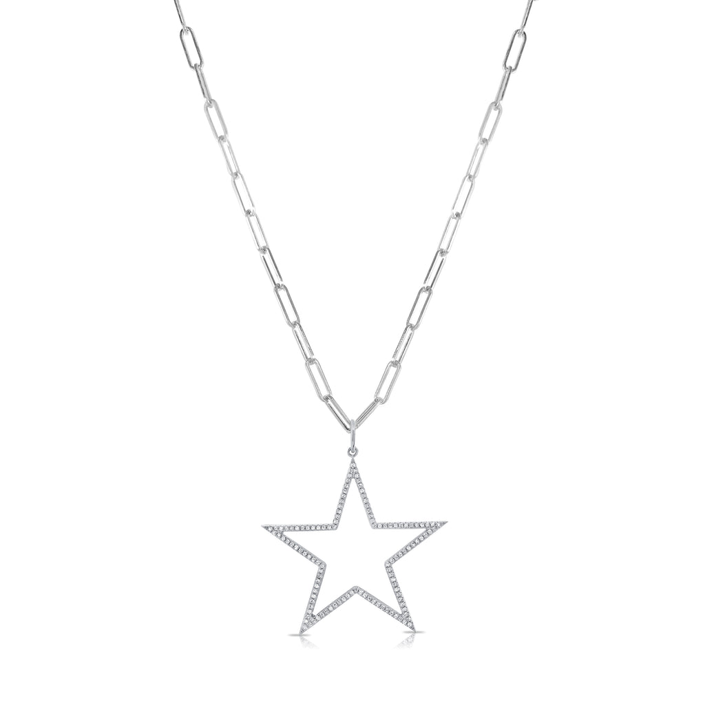 Stella Paperclip Chain Necklace w/ Removable Diamond Star Pendant