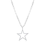 Stella Paper Clip Chain Necklace w/ Removable Diamond Star Pendant