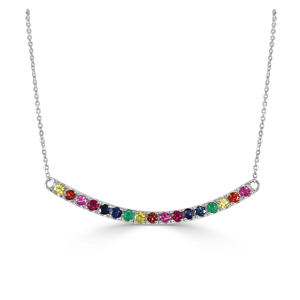 Over the Rainbow Dainty Curved Bar Necklace
