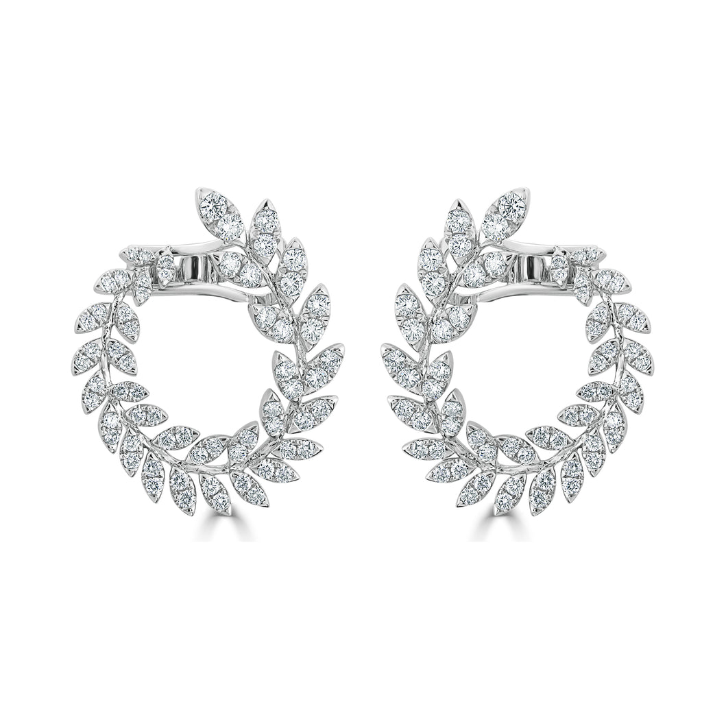Sienna Diamond Ivy Front Facing Hoop Earrings