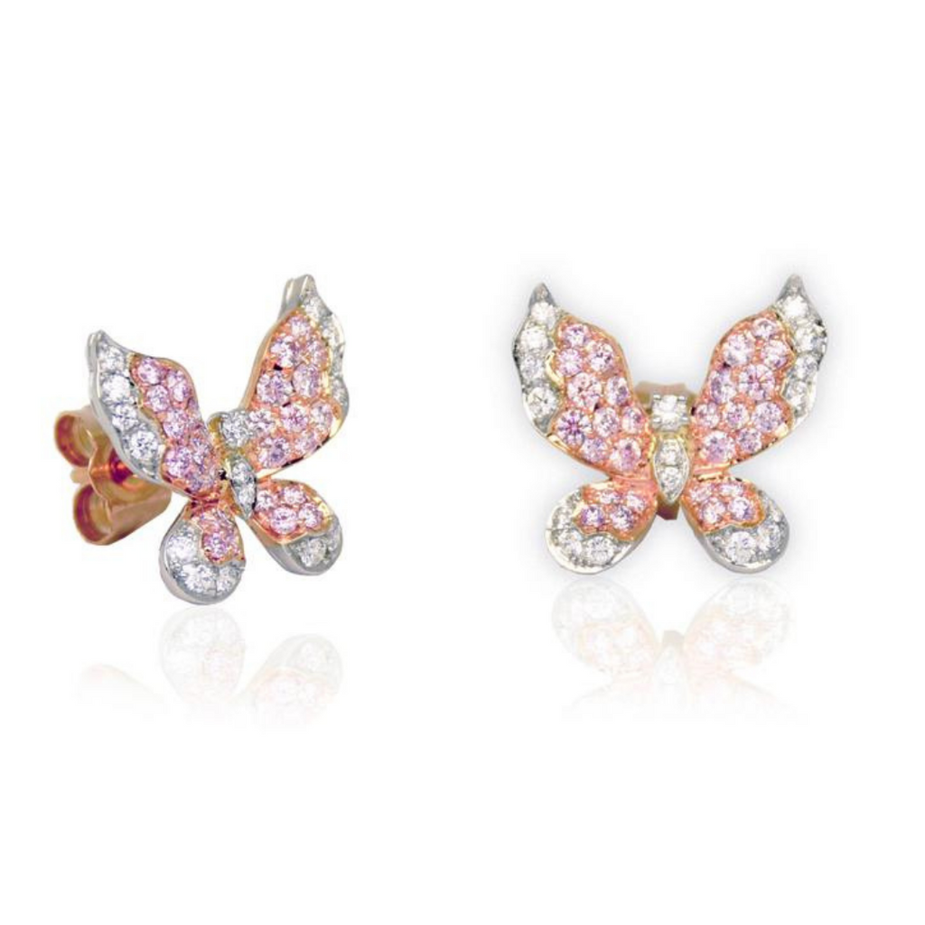 Mariposa Argyle Pink & White Diamond Platinum Butterfly Earrings