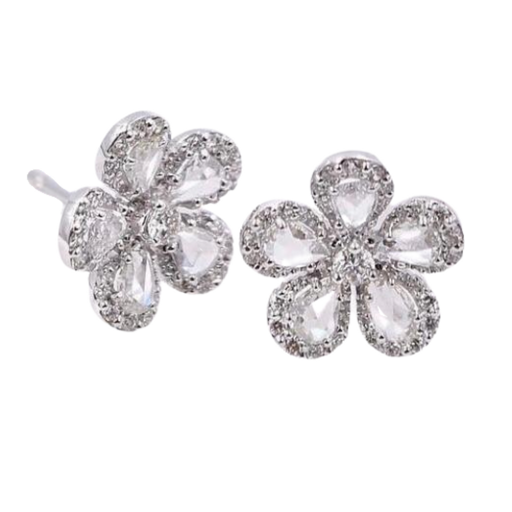 Cleo Diamond Flower Stud Earrings