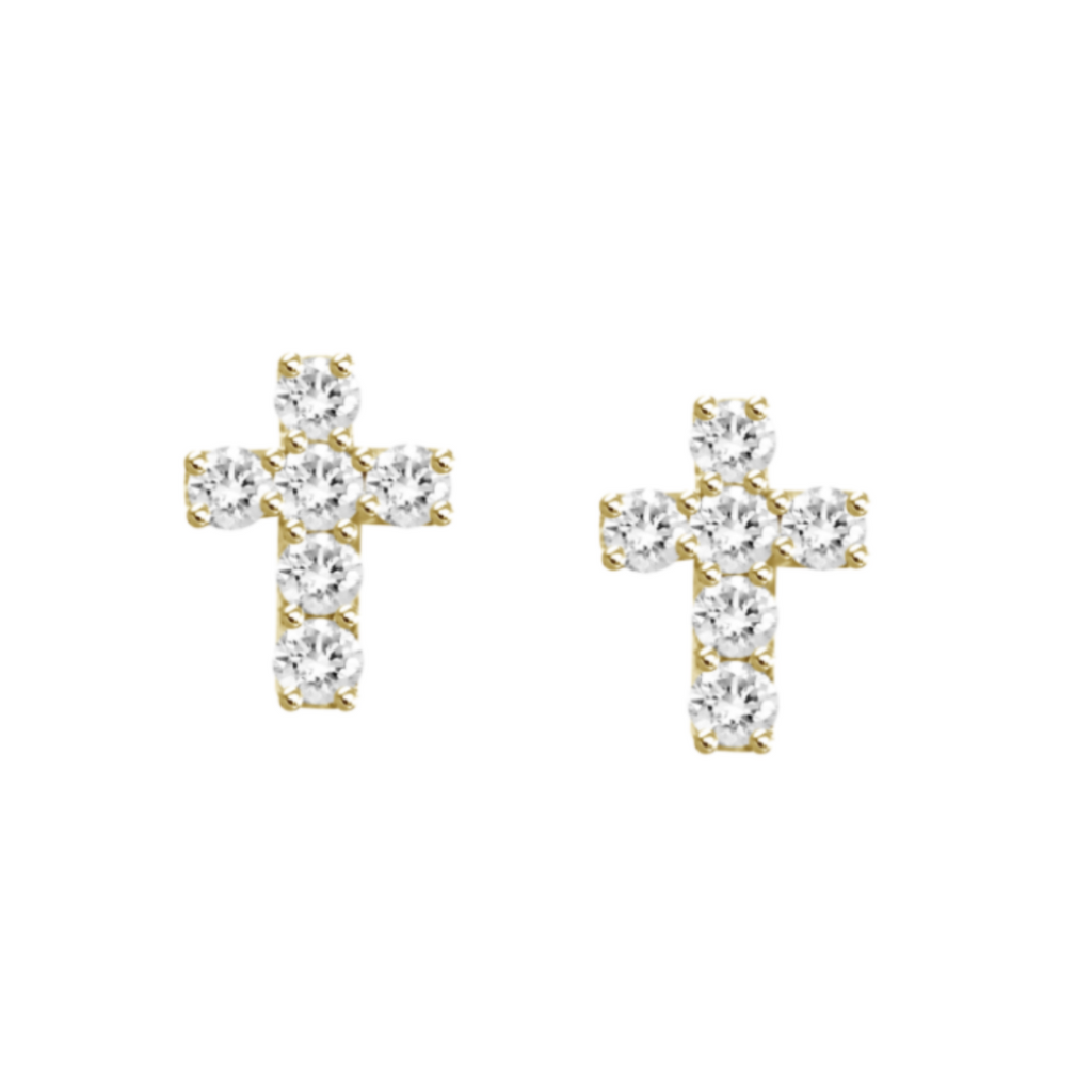 Little Grace Dainty Diamond Cross Studs