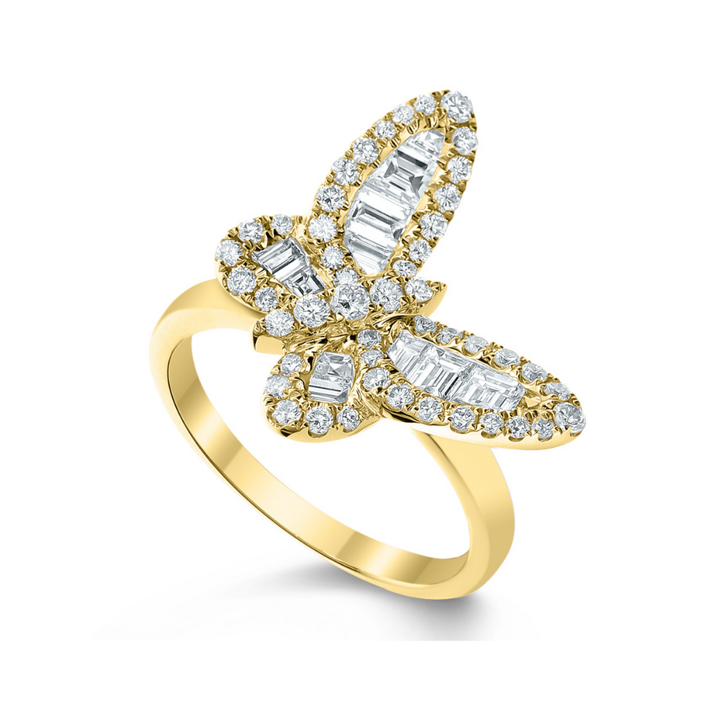 Mini Ophelia Single Baguette Butterfly Ring
