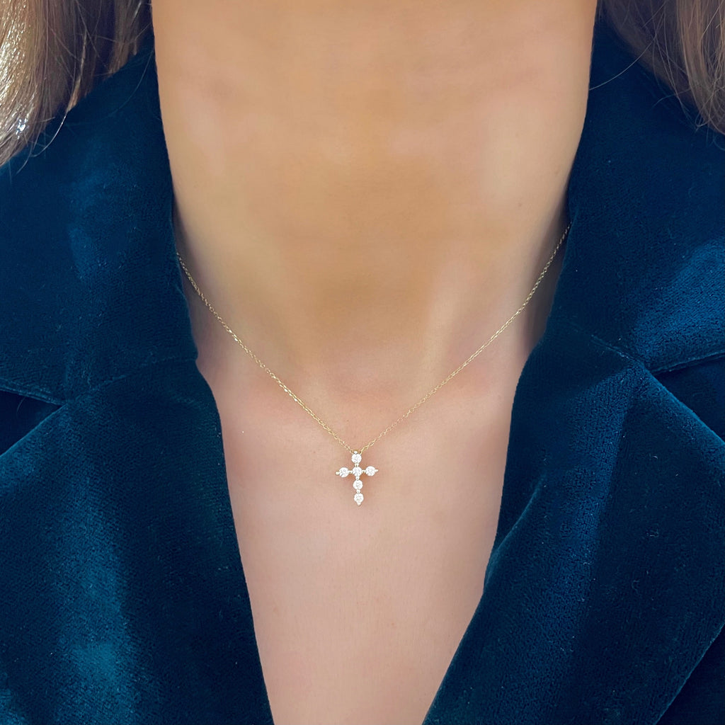 Posie Charlie Floating Diamond Cross Necklace .21 ctw