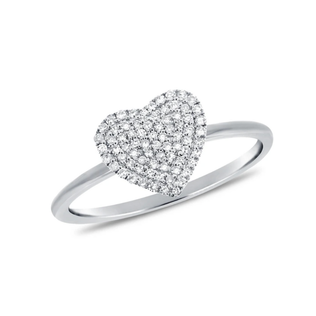"""Love You More"" Pave Diamond Heart Ring"
