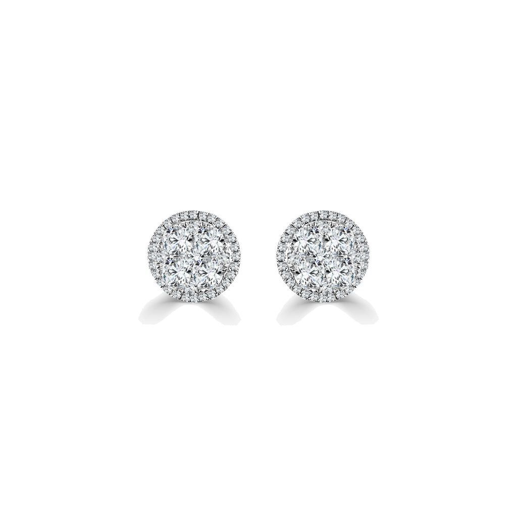Olivia Round Diamond Halo Stud Earrings