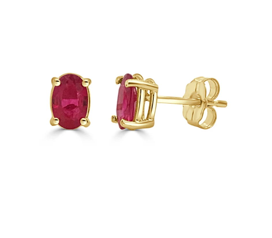Ruby Oval Stud Earrings on 14k Yellow Gold Studs