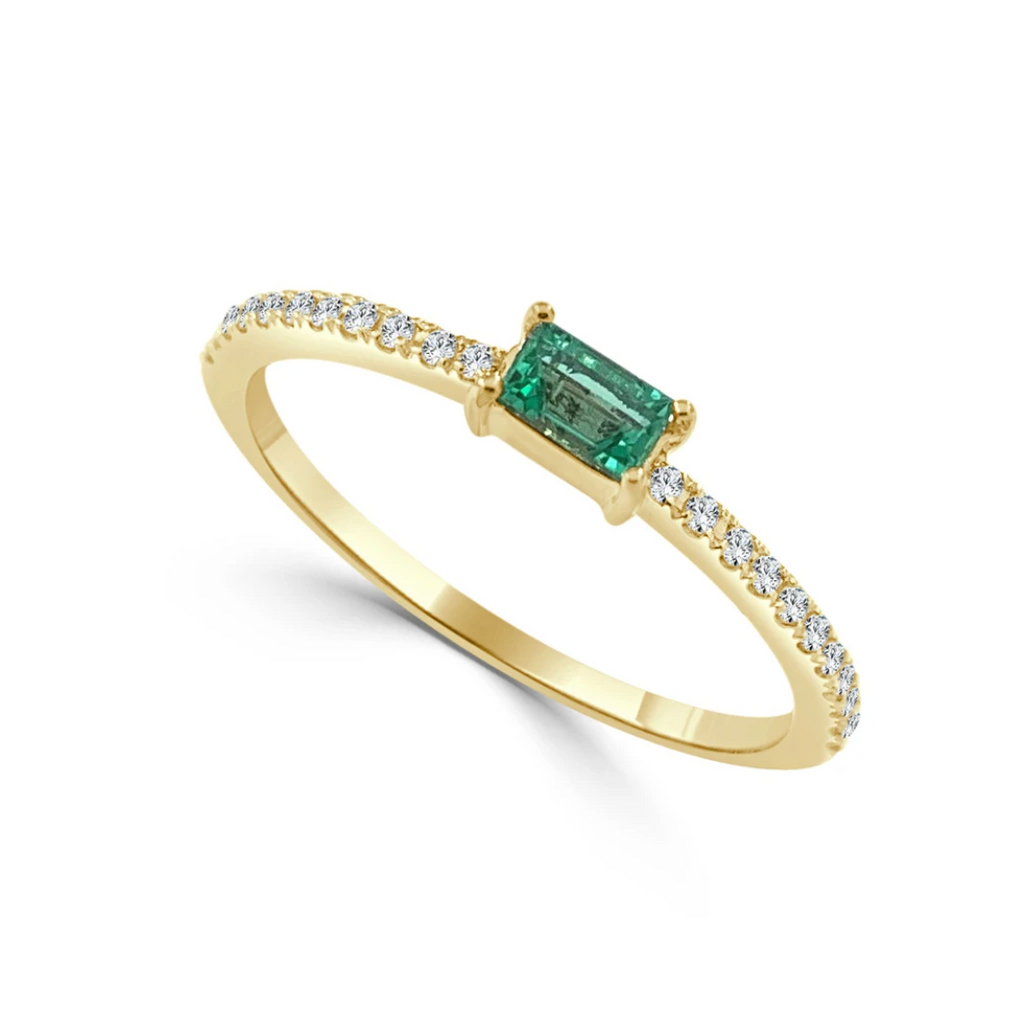 Emerald and Diamond Dainty Stacking Ring YG