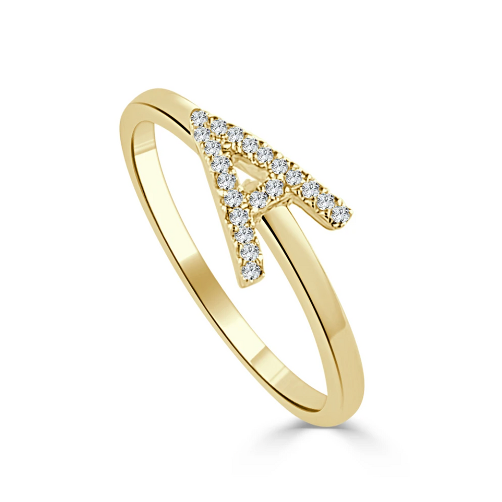 Diamond Initial Stacking Band Ring