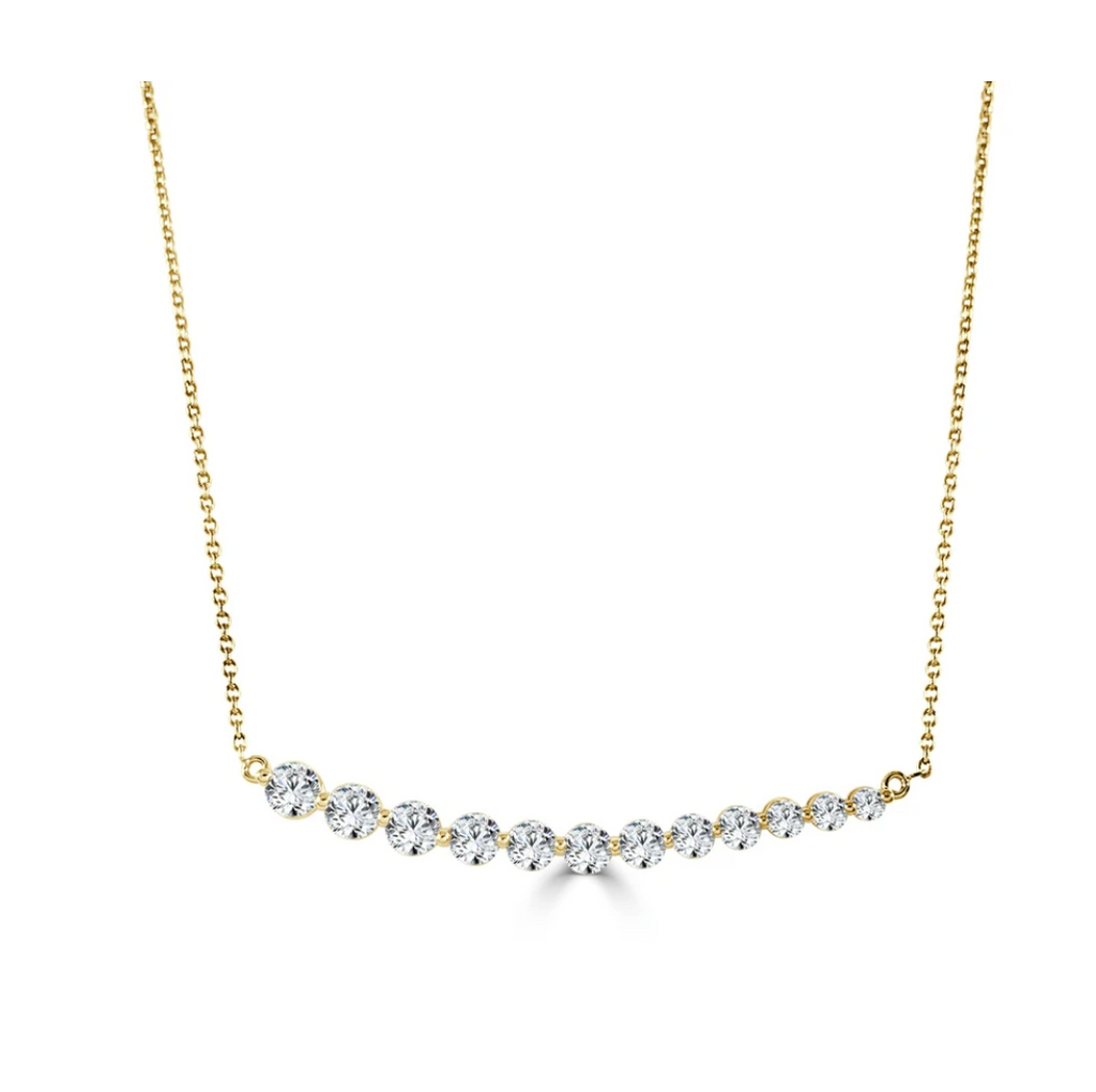 Tex Tapered Diamond Bar Necklace