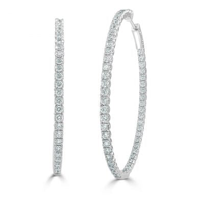 Eloise Double Sided Diamond Oval Hoop Earrings