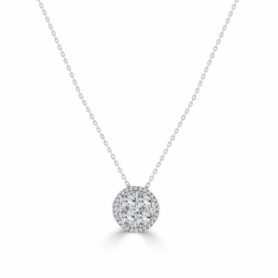 Natassia Round Pendant of Diamonds Necklace