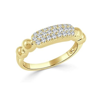 Daphne Diamond Pave Bar Beaded Band