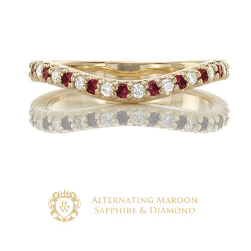 Alternating Maroon Sapphire Diamond Enhancer