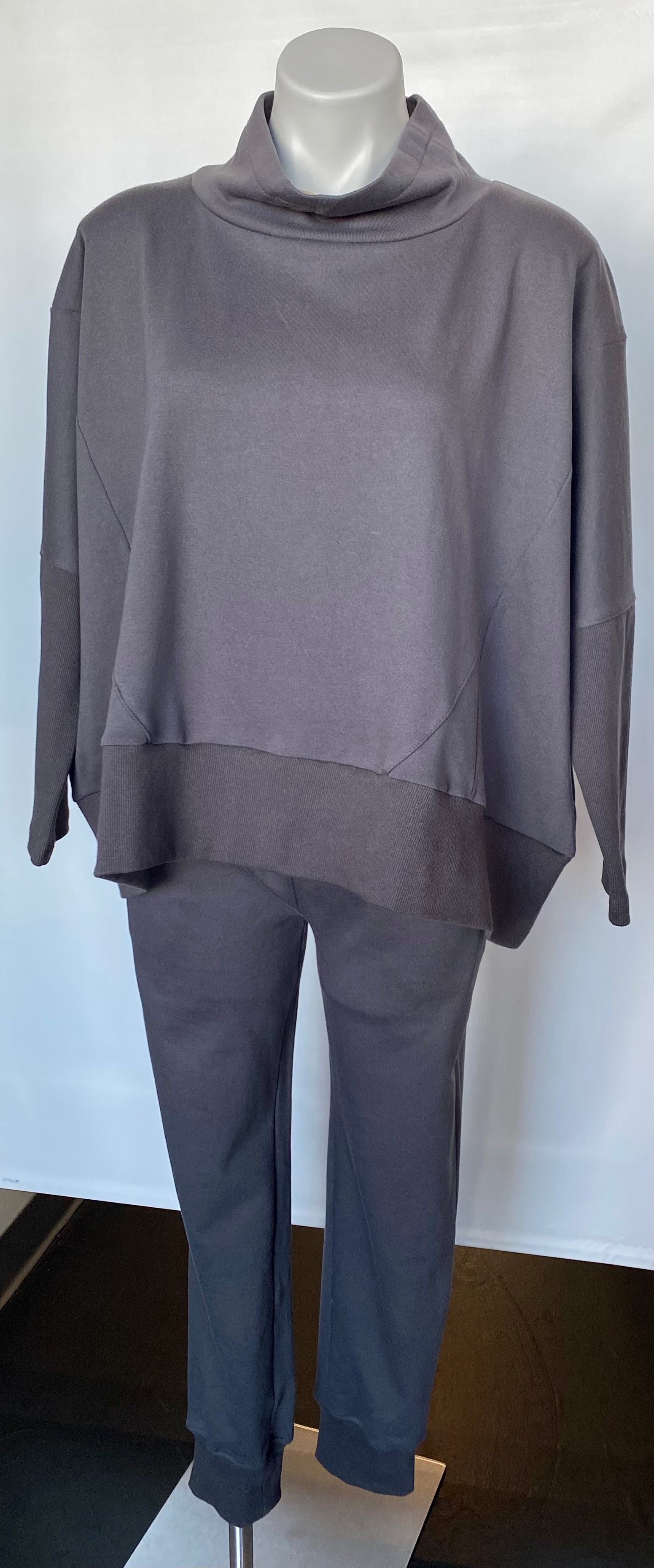 Mock Neck Terry Sweatshirt- Graphite