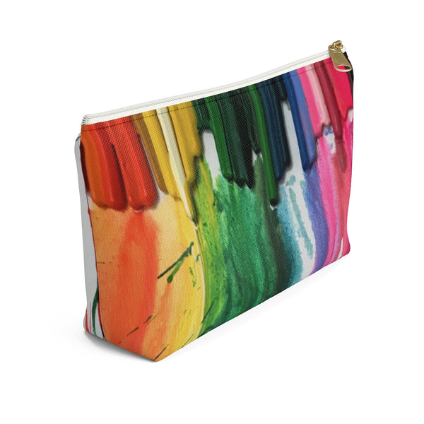 "Accessory Pouch w T-bottom - ""Crayon Rains"""