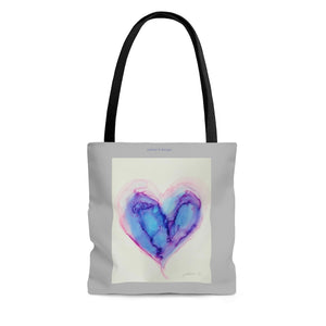 "AOP Tote Bag - ""Icy Blue Heart"""