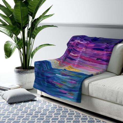 "Sherpa Fleece Blanket - ""Sunset One"""