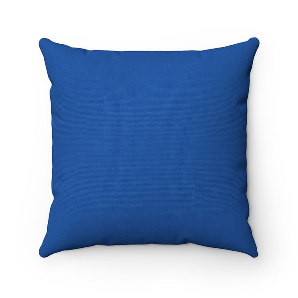 "Spun Polyester Square Pillow - ""Emerald City"" in Royal Blue"