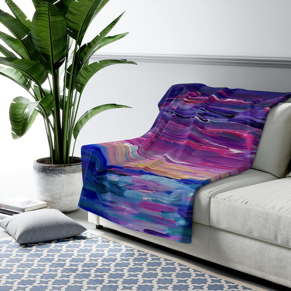 "Sherpa Fleece Blanket - ""Sunset Two"""