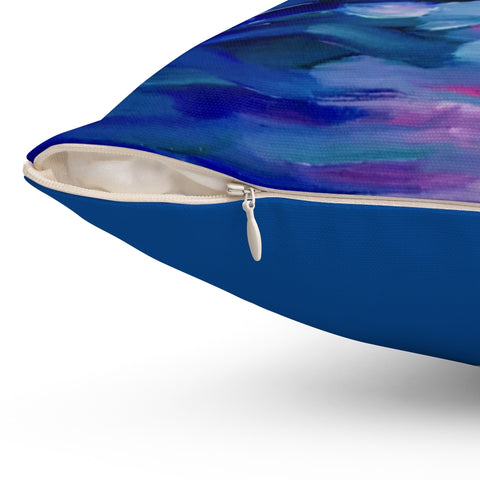 "Spun Polyester Square Pillow - ""Sunset Two"" in Royal Blue"