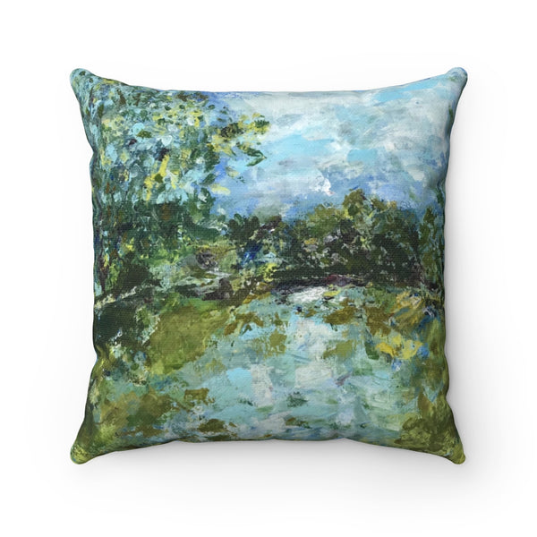 "Spun Polyester Square Pillow - ""Serenity"" in Blue"