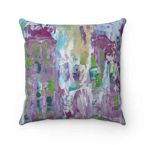 "Spun Polyester Square Pillow - ""In Between"" in Green"