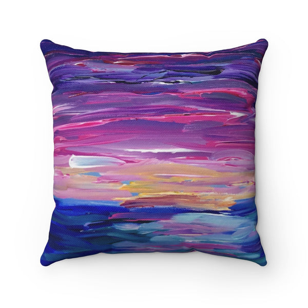 "Spun Polyester Square Pillow - ""Sunset Two"" in Light Pink"