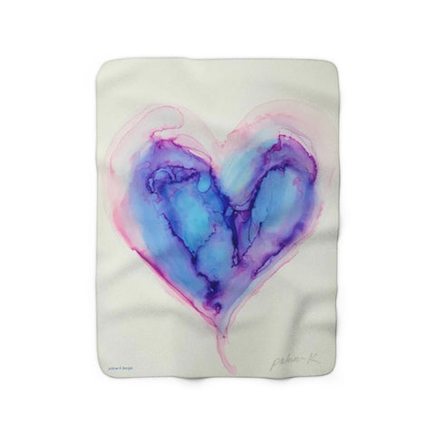 Sherpa Fleece Blanket - Icy Blue Heart