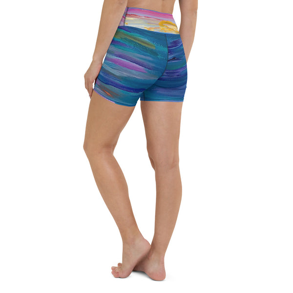 "Yoga Shorts - ""Sunset One"" in Blue"