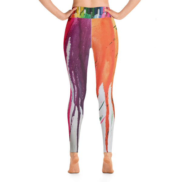 "Yoga Leggings - ""Crayon Rains"""