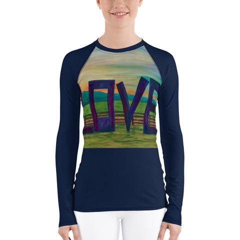 "Women's Rash Guard - ""Lock in Love"" in Navy"