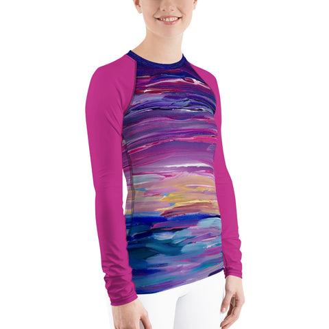 "Women's Rash Guard - ""Sunset Two"" in pink"