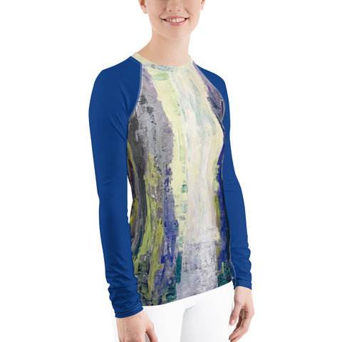 "Women's Rash Guard - ""Emerald City"" in Royal Blue"