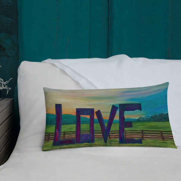 "Premium Pillow - 20 x 12  ""Lock in Love"" in Pink"