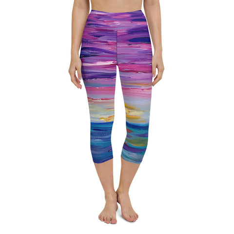 "Yoga Capri Leggings - ""Sunset One"""