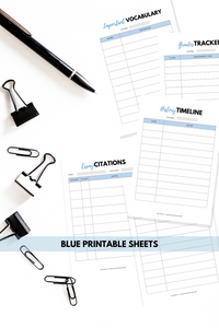 blue college study planning sheets
