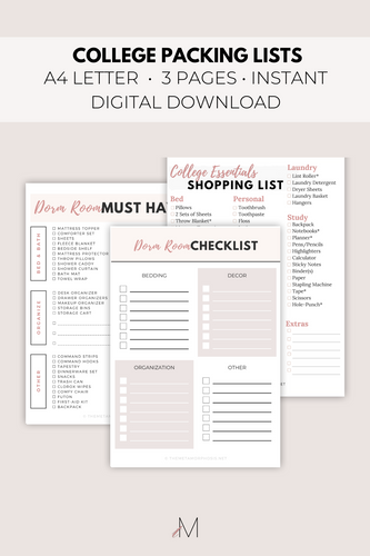 College Packing Lists {3 Pages}