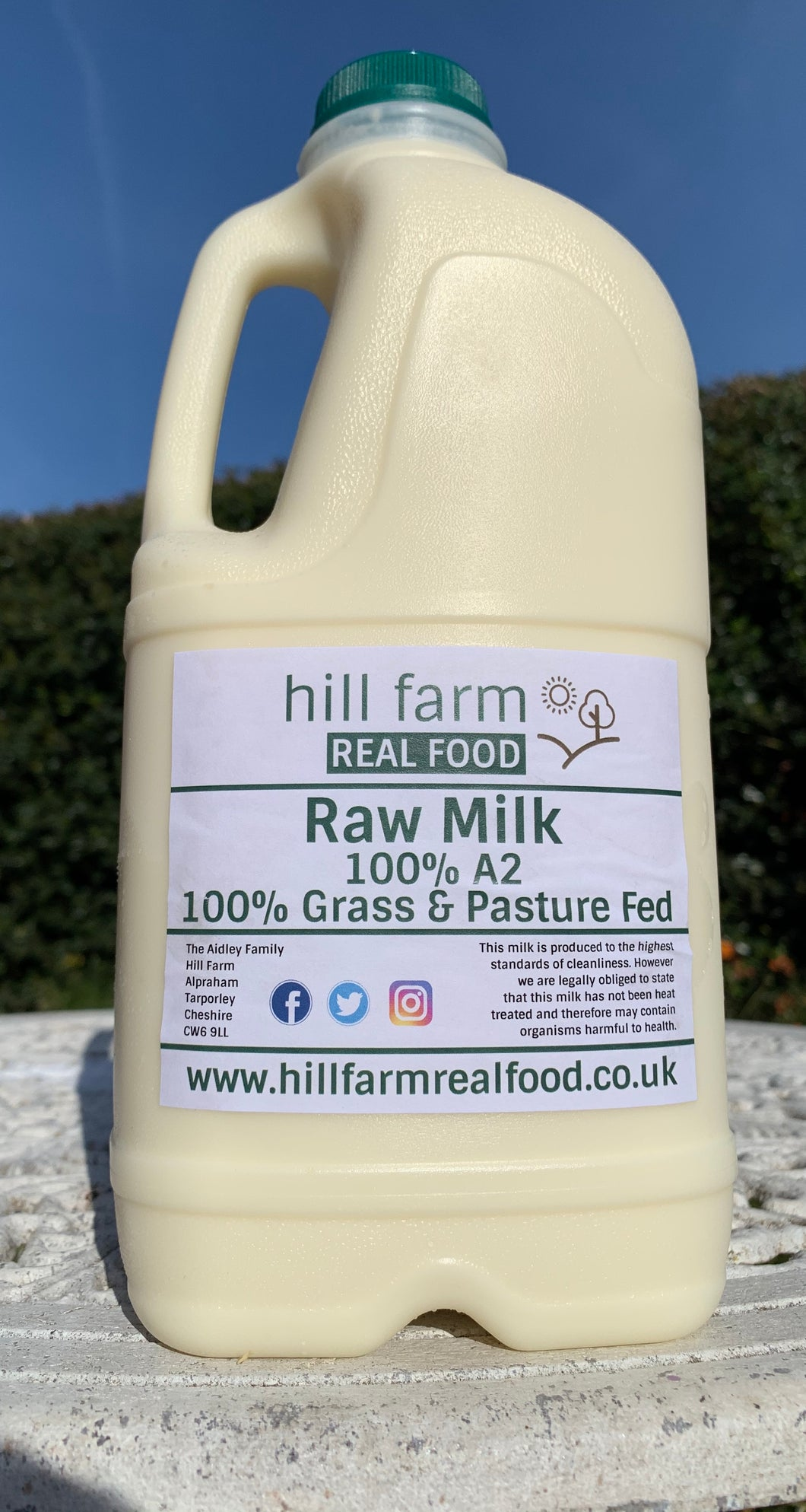 Raw A2 grass fed milk, 2 litre bottle
