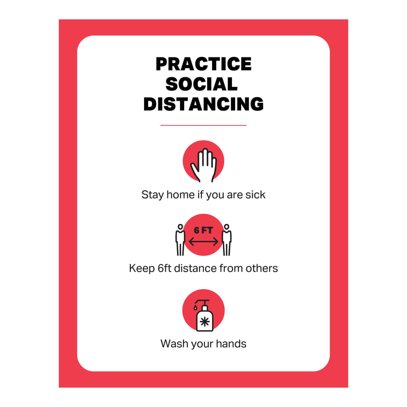 "Window Cling - Practice Social Distancing - (1) 22"" x 28"" Window Cling"