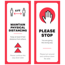 "Double-Sided Aisle Directional Sign Graphics - Maintain Physical Distancing - (2) 12"" x 30""  Graphics"