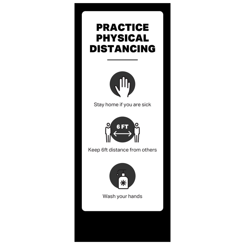 "Single-Sided Banner Stand - Practice Physical Distancing - (1) 33 ½"" x 84"" Banner and Hardware"